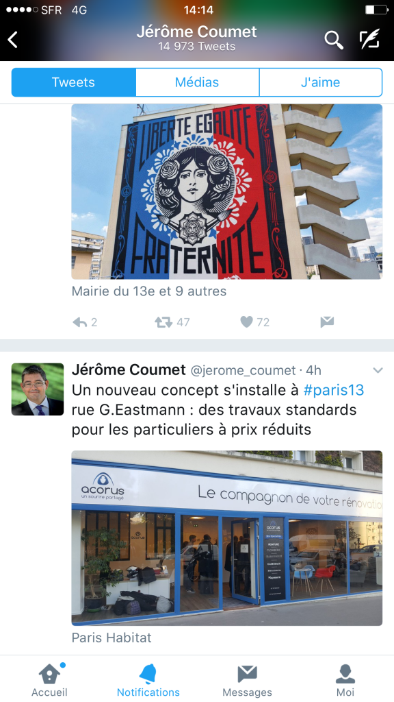 tweet agence Acorus Paris